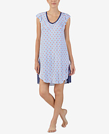 Ellen Tracy Printed Contrast-Hem Nightgown