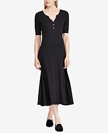 Waffle-Knit Cotton Fit & Flare Dress