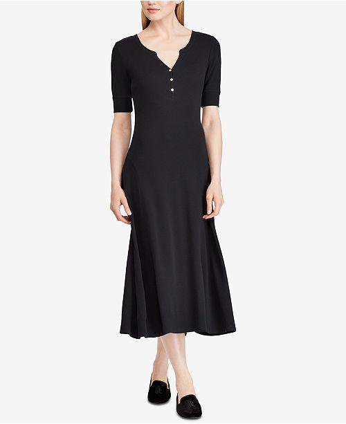 f671f1803 Lauren Ralph Lauren Waffle-Knit Cotton Midi Dress & Reviews ...