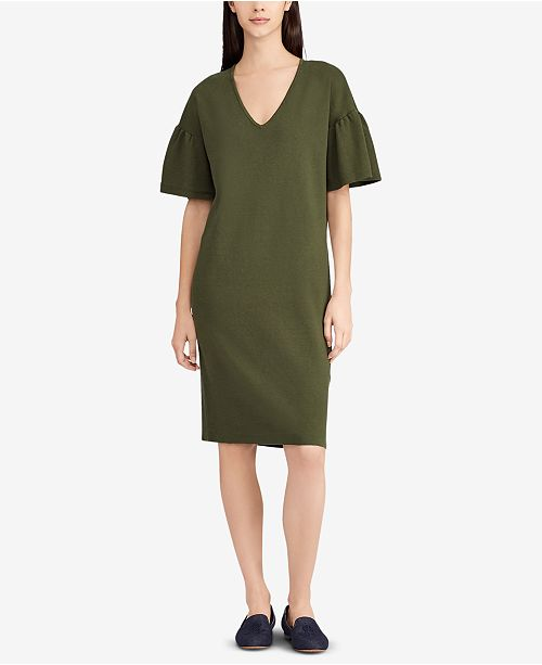 ae5a7e258fd Lauren Ralph Lauren Ruffle-Sleeve Sweater Dress   Reviews - Dresses ...