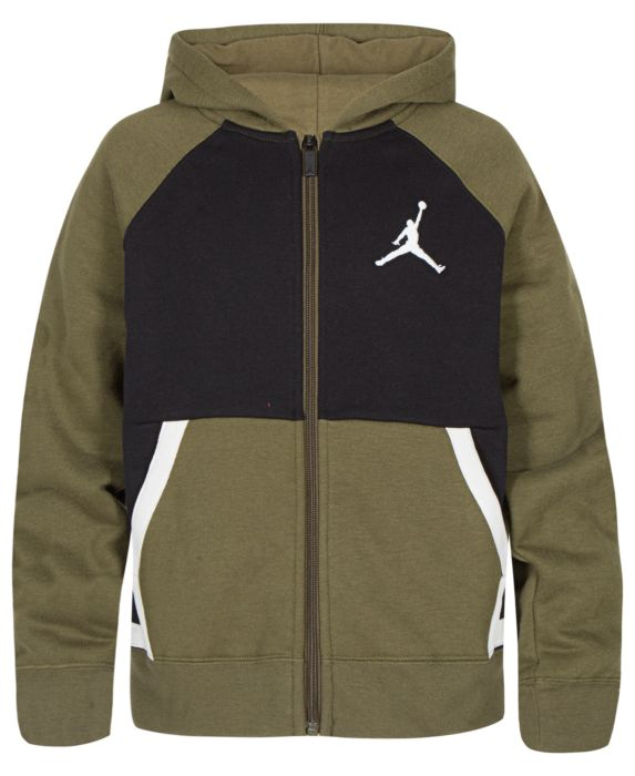 Jordan Big Boys Diamond Colorblocked Zip-Up Hoodie, Brown, Size: L (14/16)