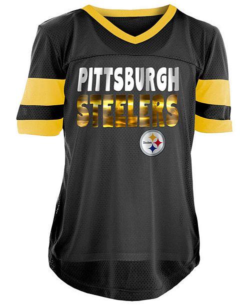 5th & Ocean Pittsburgh Steelers Foil Football Jersey, Girls (4-16)
