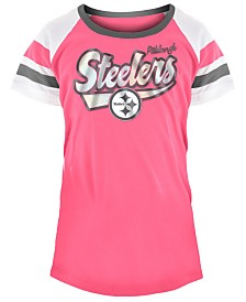 5th & Ocean Pittsburgh Steelers Pink Foil T-Shirt, Girls (4-16)