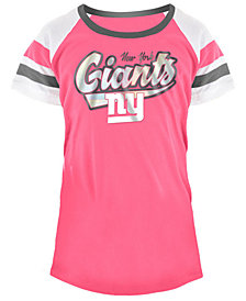 5th & Ocean New York Giants Pink Foil T-Shirt, Girls (4-16)
