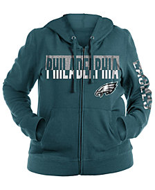 5th & Ocean Women's Philadelphia Eagles Plus Glitter Block Hoodie
