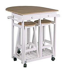 Kitchen Trolley with Two Stools and Drawers