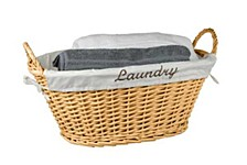 Wicker Laundry Basket with Removeable Liner, Natural