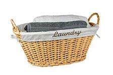 Home Basics Wicker Laundry Basket with Removable Liner