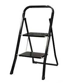 Home Basics 2-Step Steel Ladder, Black
