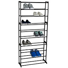 30 Pair Metal Shoe Rack, Black