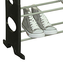 30 Pair Metal and Plastic Shoe Rack, Black