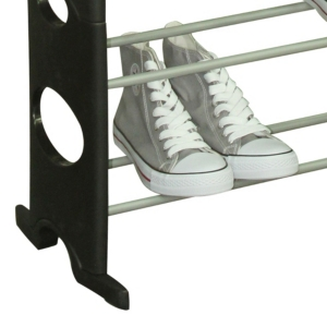 Home Basics 30 Pair Metal And Plastic Shoe Rack, Black