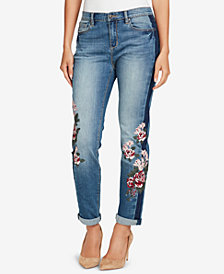 Vintage America Petite Gratia Bestie Embroidered Cuffed Jeans