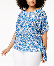 MICHAEL Michael Kors Plus Size Printed Tie-Side Top