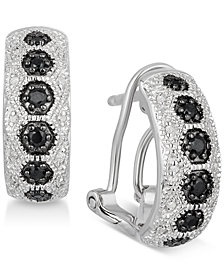 Black Sapphire (1/4 ct. t.w.) & Diamond Accent Hoop Earrings in Sterling Silver