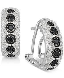 Black Sapphire (1/4 ct. t.w.) & Diamond Accent Hoop Earrings in Sterling Silver