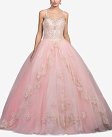 Dancing Queen Juniors' Bejeweled Lace Gown