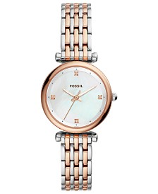 Fossil Women's Carlie Two-Tone Stainless Steel Bracelet Watch 29mm