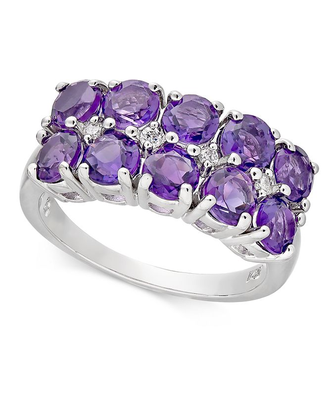 Macy's Amethyst (2 ct. t.w.) & Diamond Accent Double Row Statement Ring in 14k White Gold