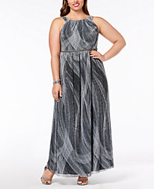 SL Fashions Plus Size Pleated Metallic Gown