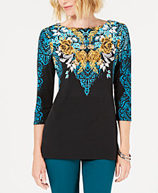 JM Collection Printed 3/4-Sleeve Top, Created for Macy's