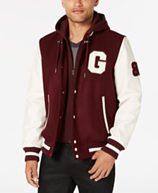 GUESS Men's Hooded Varsity Jacket