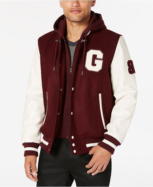 GUESS Men's Hooded Varsity Jacket & Reviews - Coats