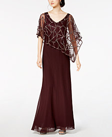J Kara Sequin-Embellished Cape Gown