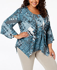 NY Collection Plus Size Printed Layered-Look Top