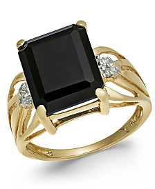Onyx (12 x 10mm) & Diamond Accent Ring in 14k Gold