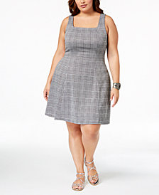 Soprano Trendy Plus Size Plaid A-Line Dress
