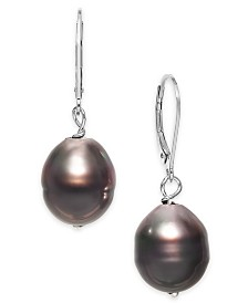 Cultured Baroque Black Tahitian Pearl (11mm) Drop Earrings in Sterling Silver