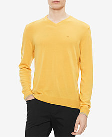 Calvin Klein Men's Solid Extra-Fine Merino V-Neck Sweater