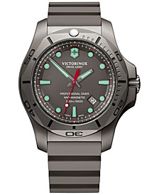 Men's Swiss I.N.O.X Professional Diver Gray Rubber Strap Watch 45mm