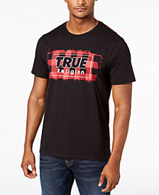 True Religion Men's Plaid Logo Graphic T-Shirt