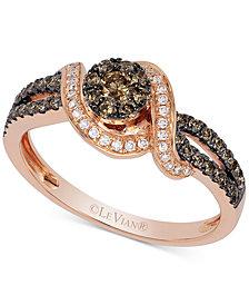 Le Vian Chocolatier® Diamond Statement Ring (1/2 ct. t.w.) in 14k Rose Gold