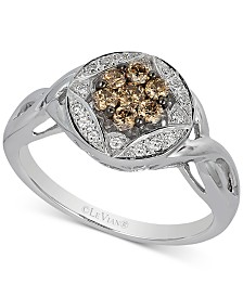 Le Vian Chocolatier® Diamond Cluster Twist Ring (1/3 ct. t.w.) in 14k White Gold