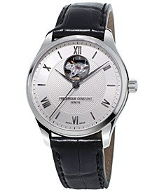 Men's Swiss Automatic Classics Heartbeat Black Leather Strap Watch 40mm