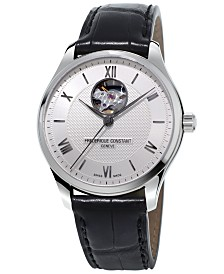 Frederique Constant Men's Swiss Automatic Classics Heartbeat Black Leather Strap Watch 40mm