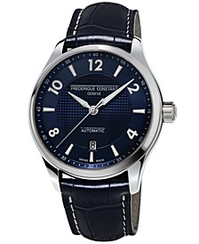 Men's Swiss Automatic Runabout Blue Leather Strap Watch 42mm