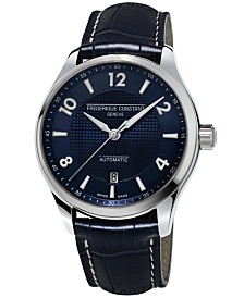 Frederique Constant Men's Swiss Automatic Runabout Blue Leather Strap Watch 42mm
