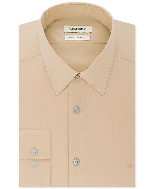 Calvin Klein Men's Slim-Fit Stretch Flex Collar Solid Logo Dress Shirt, Created for Macy's