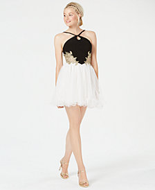 Blondie Nites Juniors' Embroidered Fit & Flare Dress