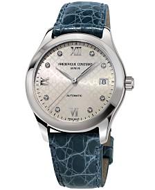 Frederique Constant Women's Swiss Automatic Diamond-Accent Blue Alligator Leather Strap Watch 36mm