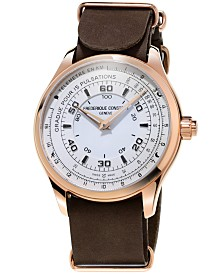 Frederique Constant Men's Swiss Horological Brown Leather Strap Smart Watch 42mm