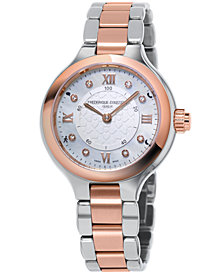 Frederique Constant Women's Swiss Horological Diamond-Accent Two-tone Stainless Steel Bracelet Smart Watch 34mm