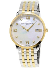 Frederique Constant Women's Swiss Slimline XL Diamond-Accent Two-Tone Stainless Steel Bracelet Watch 36mm