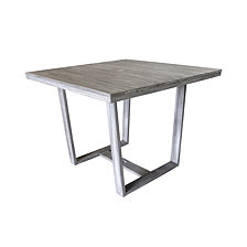 Courtyard Casual Driftwood Teak Contemporary Bay Side Outdoor Square Dining Table