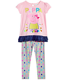 Peppa Pig Toddler Girls 2-Pc. Graphic-Print Top & Printed Leggings Set