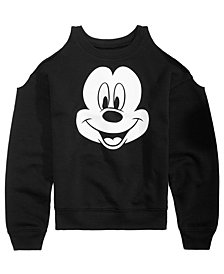 Disney Big Girls Mickey Mouse Cold Shoulder Sweatshirt